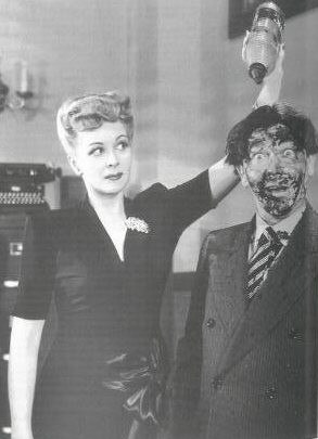 Christine and Moe Howard in publicity still for 1945's THREE PESTS IN A MESS