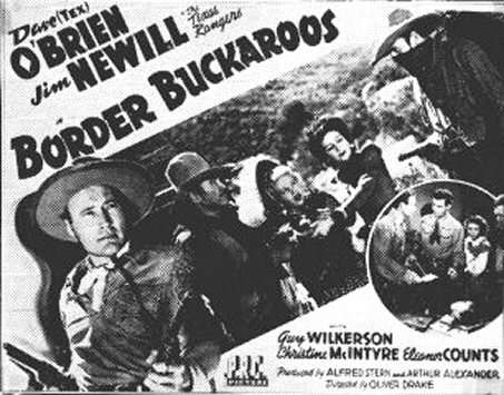Title card for 1943 Dave O'Brien B Western BORDER BUCKAROOS which co-starred Christine.