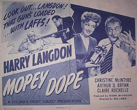 Christine and Harry Langdon in a lobby card for 1944's short MOPEY DOPE