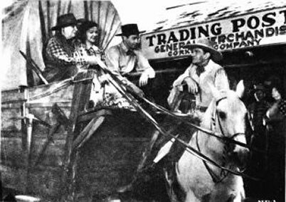Maude Eburne, Christine, Robert Lowery, and Buck Jones in publicity still for 1942's DAWN ON THE GREAT DIVIDE