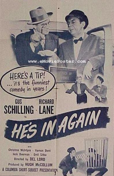 """Poster comedy short """"He's in Again"""""""