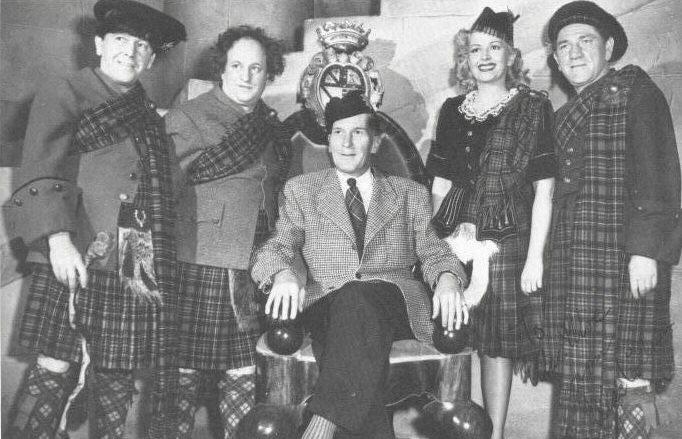 Christine on the set with Moe Howard, Larry Fine, Shemp Howard and Hugh McCollum