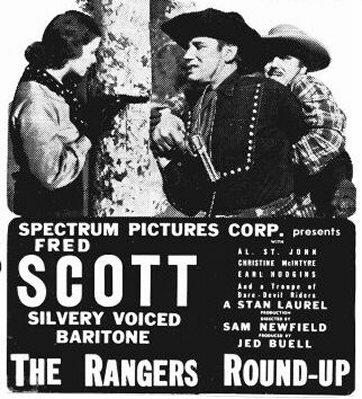 Christine, Fred Scott, and Carl Mathews in a title card for 1938's RANGERS ROUND-UP