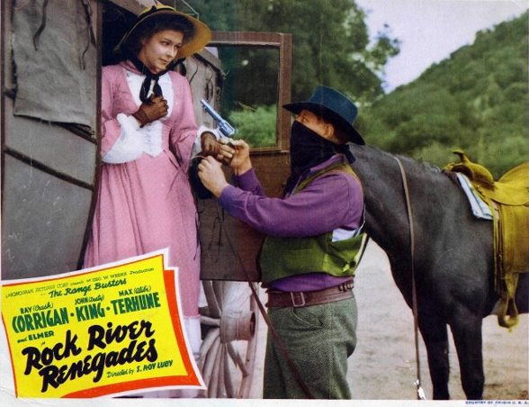 Lobby Card from 1942 Range Buster adventure ROCK RIVER RENEGADES