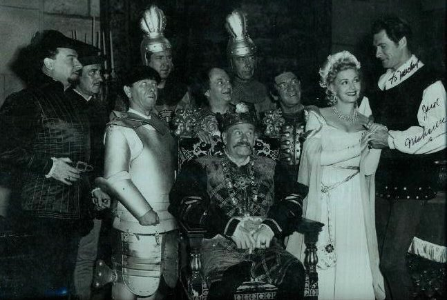 "Christine and cast of 1948's ""Squareheads of the Round Table"""