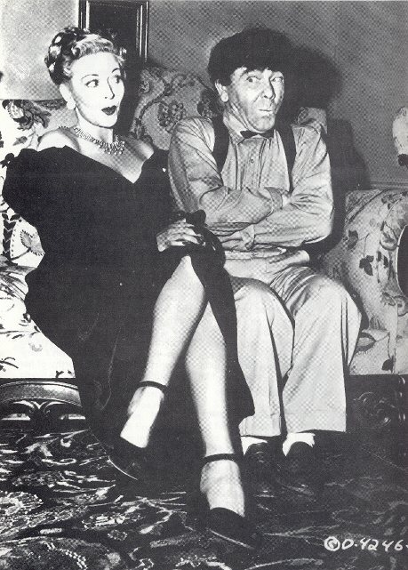 Christine and Moe Howard in publicity still for 1949's VAGABOND LOAFERS